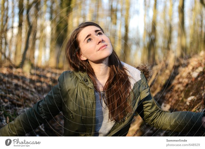 Human being Nature Youth (Young adults) Beautiful Tree Young woman Calm Far-off places Forest Environment Emotions Feminine Autumn Spring Freedom Think