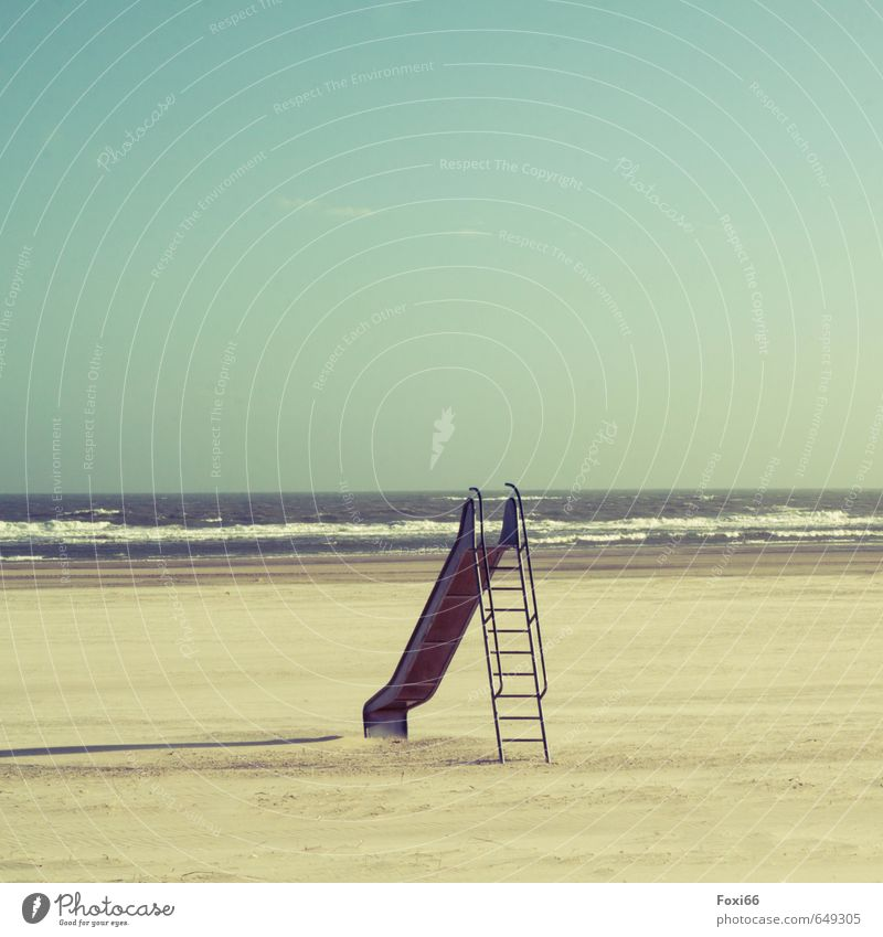 summer preparation Calm Vacation & Travel Tourism Trip Summer Sports Slide beach games Water Sky only Sunlight Beautiful weather Wind Baltic Sea Sand Metal