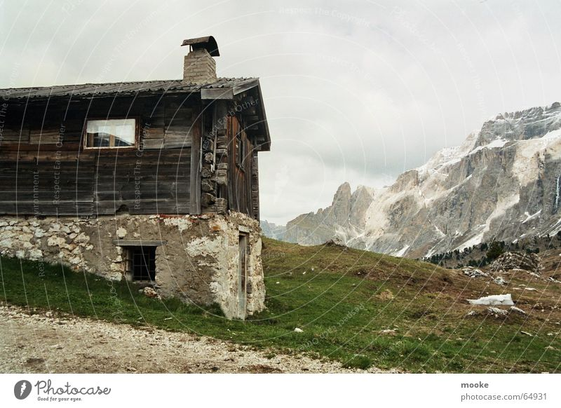 Clouds Mountain Wood Stone Hut Sella