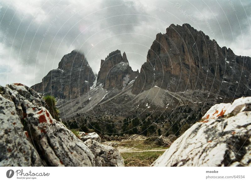 Passo Sella Variation Clouds Building rubble Rock Mountain Sparse