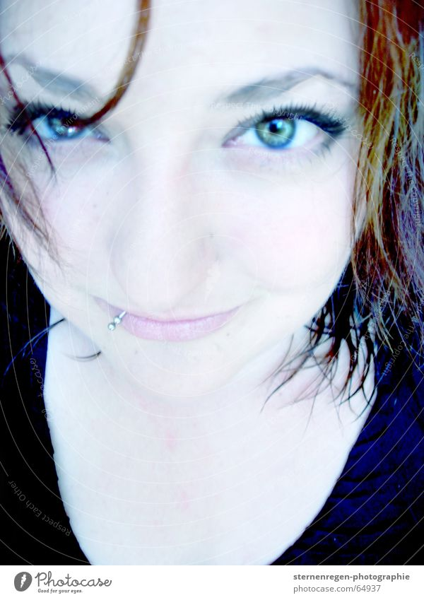moi. Portrait photograph Woman Piercing Pallid Eyes wet hair blue eyes