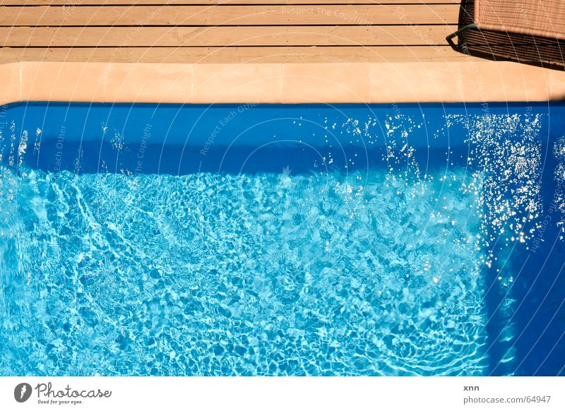 *jump* Relaxation Swimming & Bathing Vacation & Travel Summer Summer vacation Swimming pool Water Beautiful weather Stone Wood Line Stripe Fluid Glittering Cold
