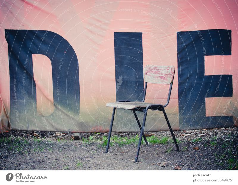 DIE Colour Loneliness Cold Death Art Pink Earth Uniqueness Chair Fear of the future Word Trashy Whimsical Textiles Inspiration Identity