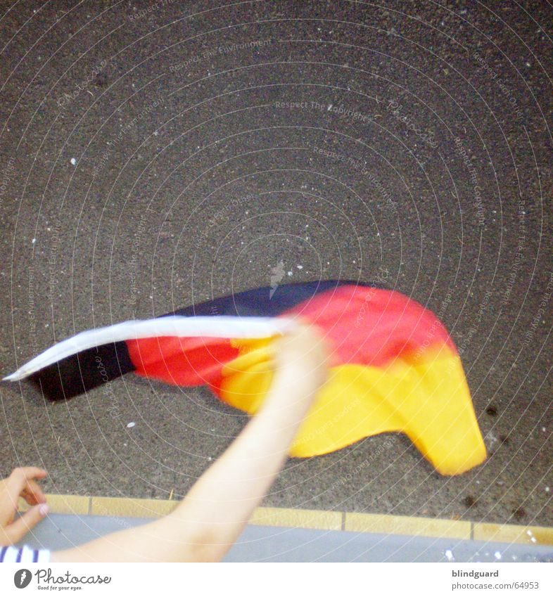 ... and bye-bye Flag Wave Window Playing World Cup 2006 Grief Germany Black Red Patriotism Crazy Stadium Sidewalk Window board Pride soccer