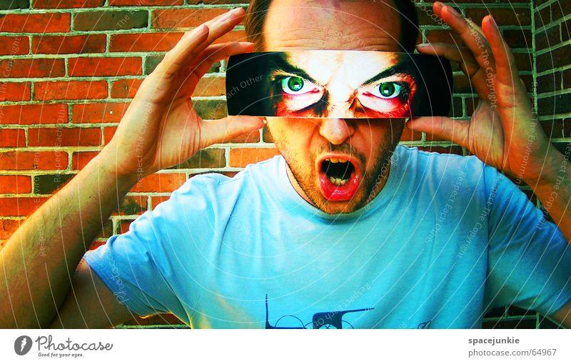 Human being Man Green Blue Face Black Eyes Dark Wall (barrier) Fear Crazy T-shirt Anger Brick Evil Freak
