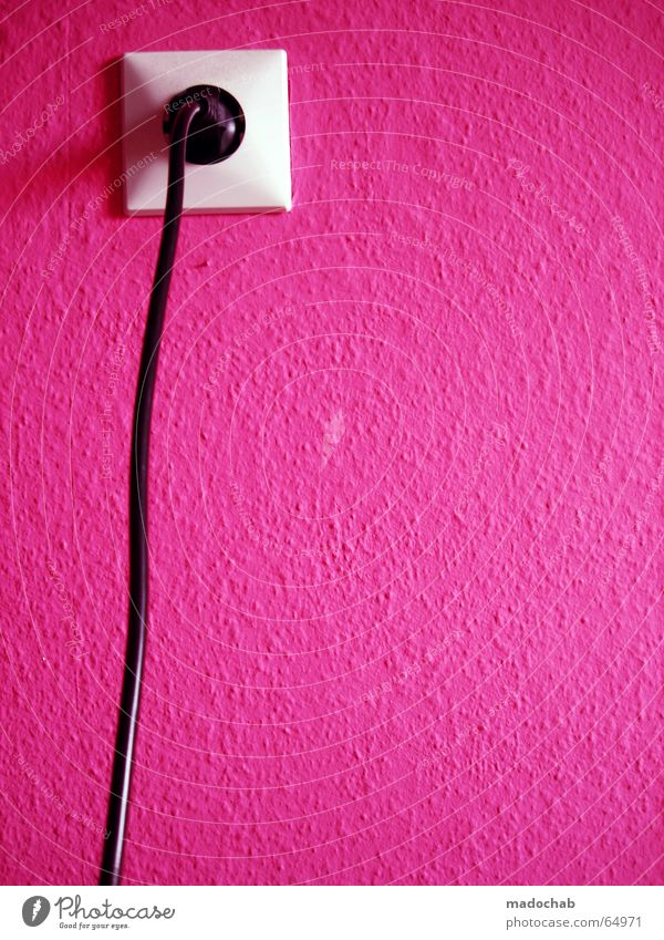 PLUG INTO MAGENTA LOVE | pink pink clean graphic socket outlet Lifestyle Style Wallpaper Energy industry Cable Technology Wall (barrier) Wall (building) Violet