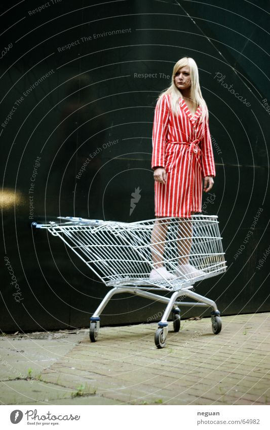 Woman Red Blonde Coat Striped Goods Shopping Trolley Clothing Stunned