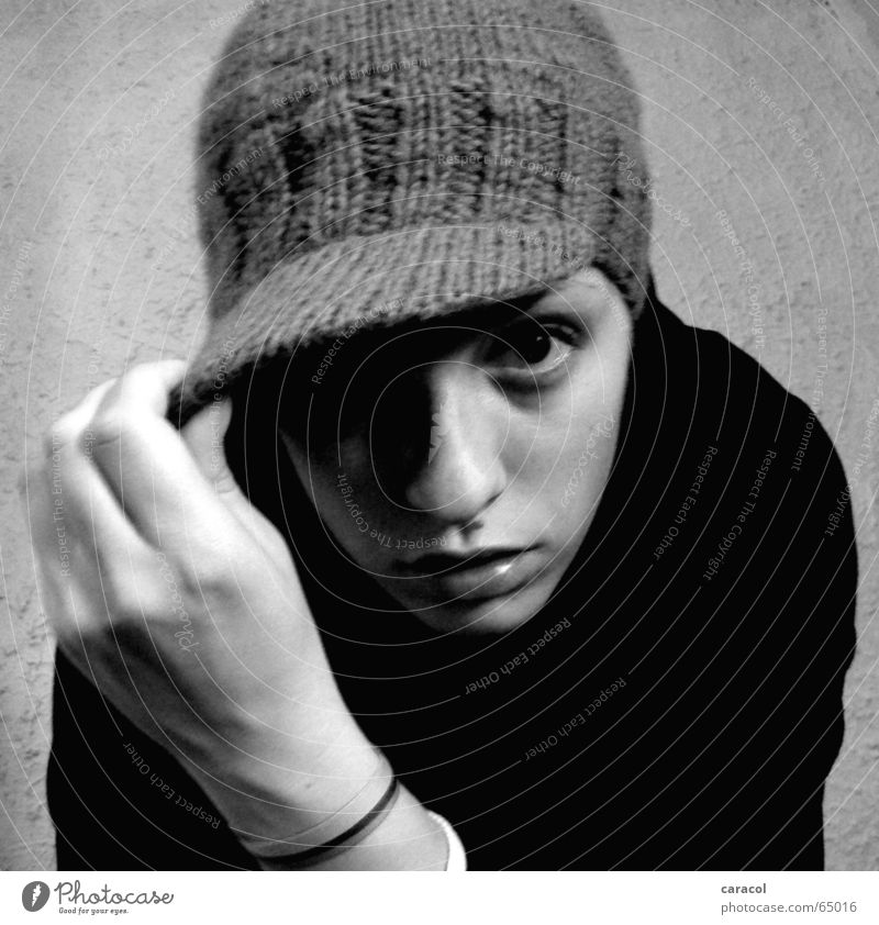 self-portrait II Black White Self portrait Cap Earnest Face has serious Style Looking