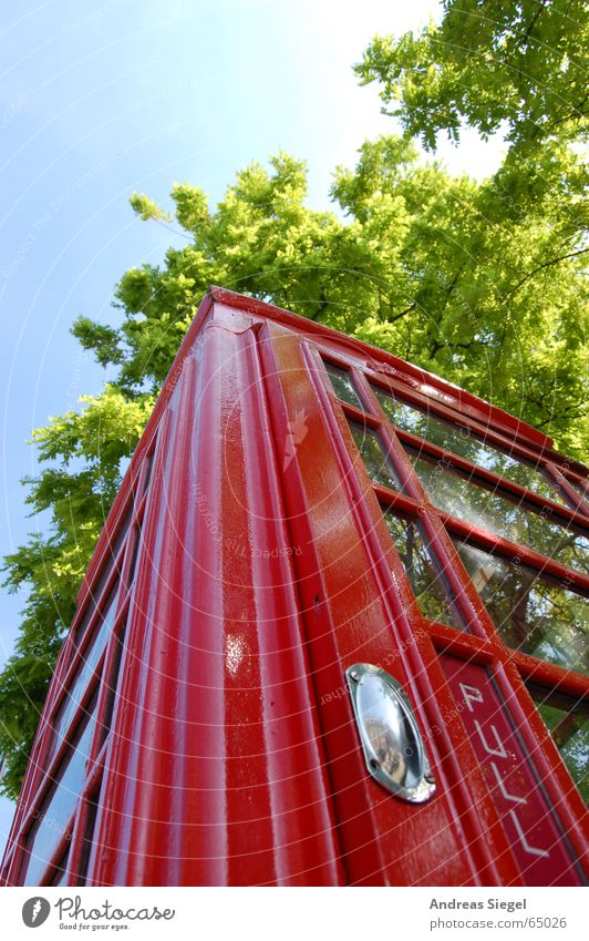 Sky Tree Green Red Door Telephone Communicate London England Door handle Pull Undo Compromise Phone box