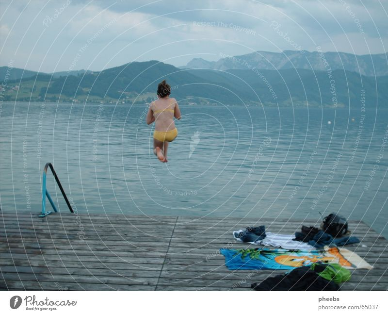 Woman Girl Blue Yellow Cold Jump Mountain Gray Lake Large Clothing Stairs Bikini Footbridge Handrail Towel