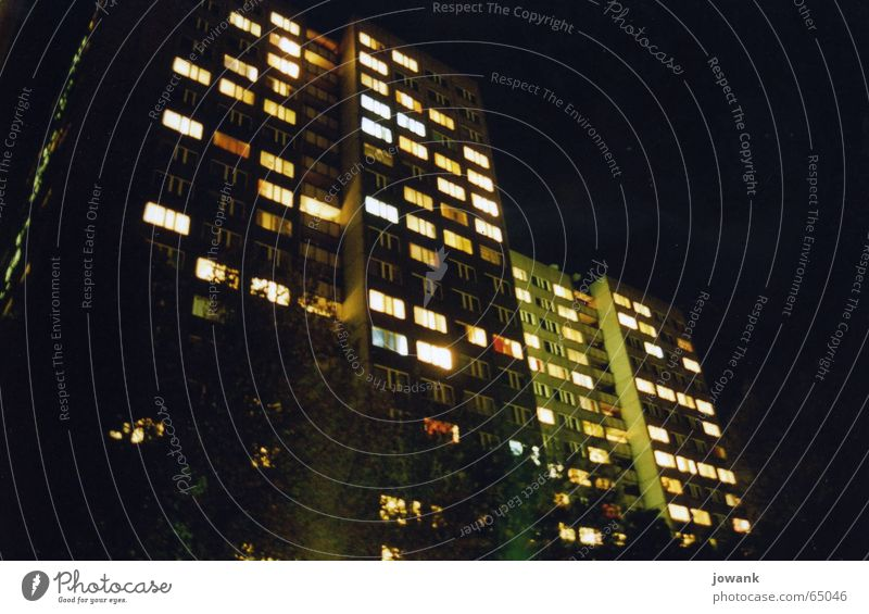 Dark Berlin Window Lighting Germany High-rise Gloomy Night sky GDR Prefab construction Reunification Communism