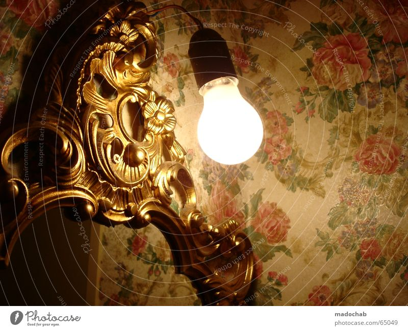 LIGHT | bulb light lamp lamp hope antique wallpaper mirror Electric bulb Bathroom Mirror Curlicue Ornament Wallpaper Pattern Flower Floral wallpaper Playing
