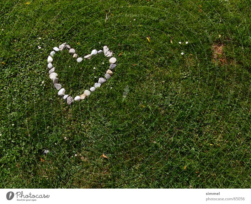 Heart of stone on green Affection Continuity Grass Green Gray Heart-shaped Love Old Stone