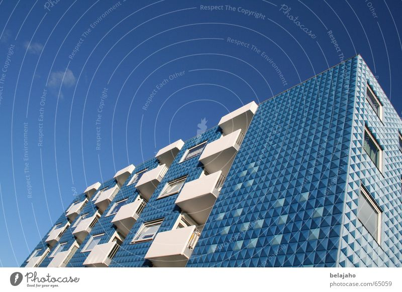 Blue House House (Residential Structure) Building Hotel Accommodation Flat (apartment) Facade Sky blue Balcony Wall (building) Summer Norderney East Frisland