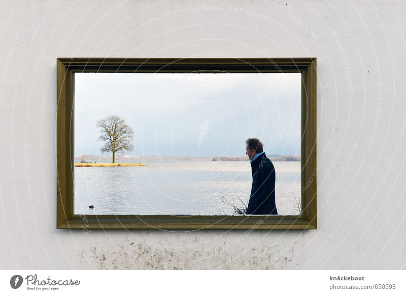 photo-paintings Trip Human being Masculine Man Adults 1 30 - 45 years Art Museum Painting and drawing (object) Nature Landscape Water Winter Tree Lakeside Think