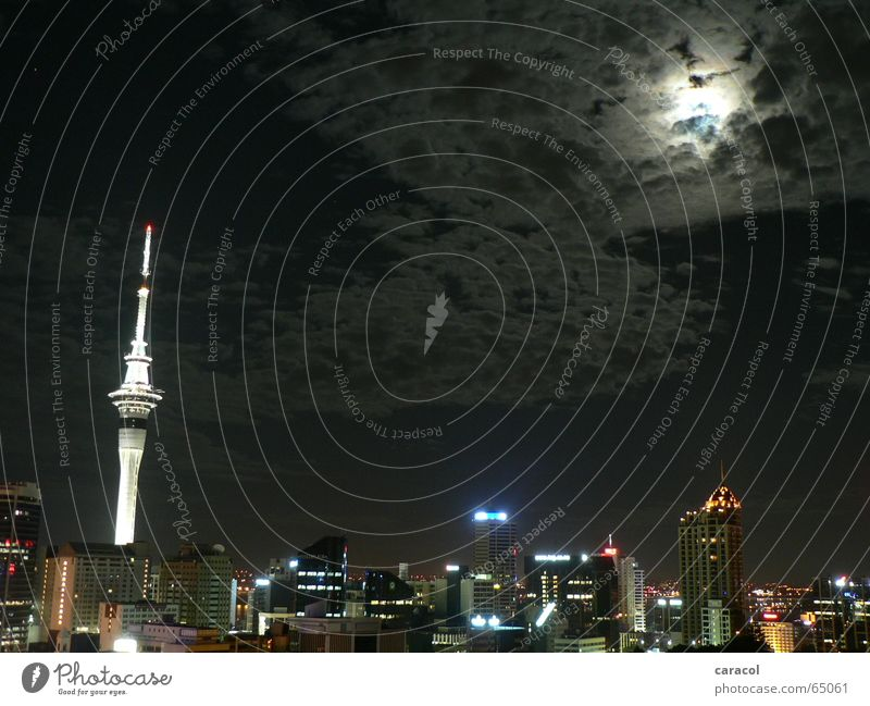 Aotearoa Auckland Town Night Light Clouds Sky Tower New Zealand Skyline moon cloud Television tower