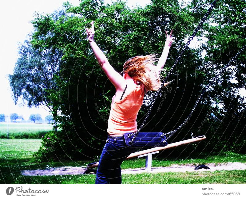 unattached Woman Forest Air Child Girl Swing Seesaw Life Free Nature Peace Colour Lawn Earth