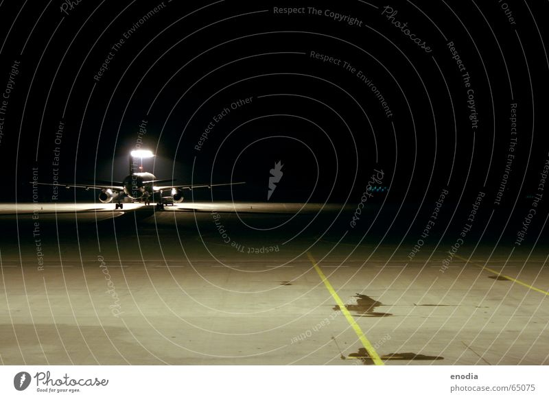 Airplane Night Asphalt Airport Runway