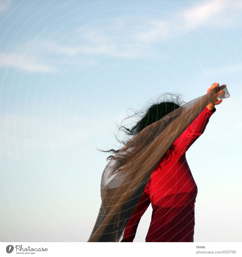 . Human being Feminine 1 Dance Sky Clouds Rag Brunette Long-haired Curl Joie de vivre (Vitality) Passion Life Joy Contentment Inspiration Communicate Art Ease
