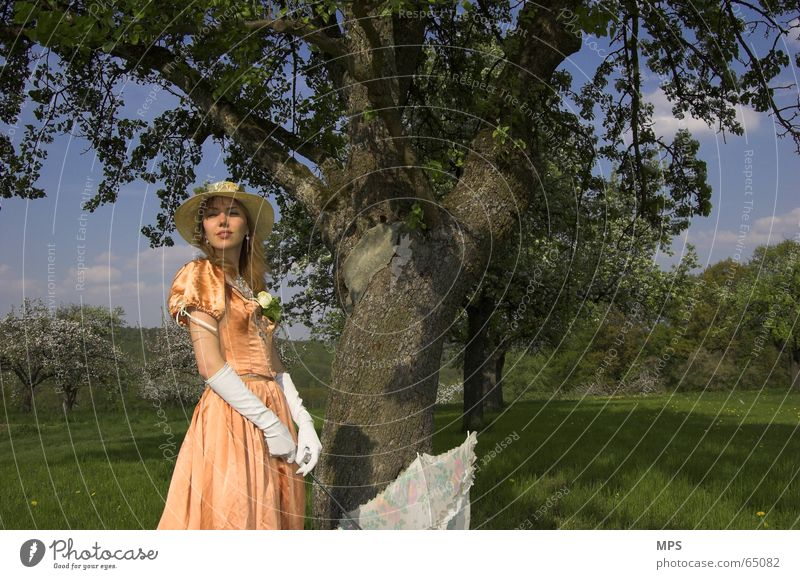 Woman Human being Nature Tree Summer Meadow Think Landscape Romance Dress Umbrella Hat Past Old fashioned Clothing