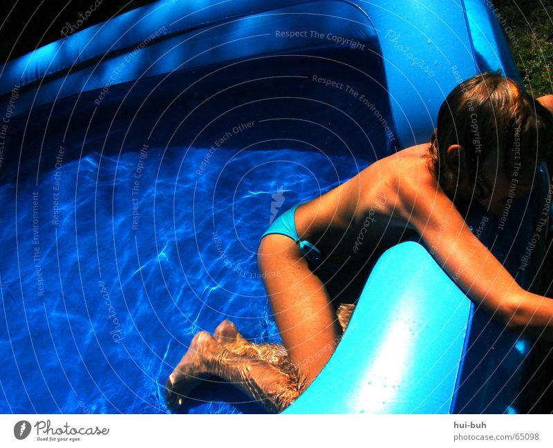 Human being Water Blue Summer Joy Grass Hot Paradise Paddling pool