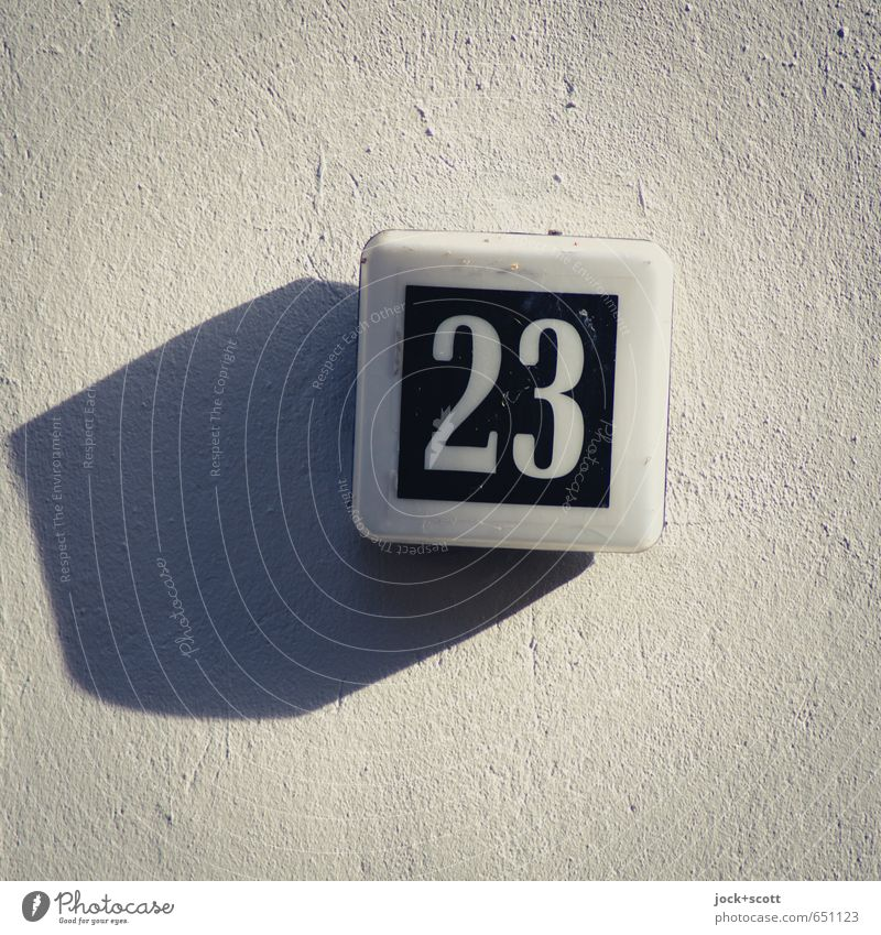 apparently twenty-three Wall (building) Plastic Signs and labeling 23 Simple Orderliness Design Center point Style Plaster Cuboid Tilt Drop shadow