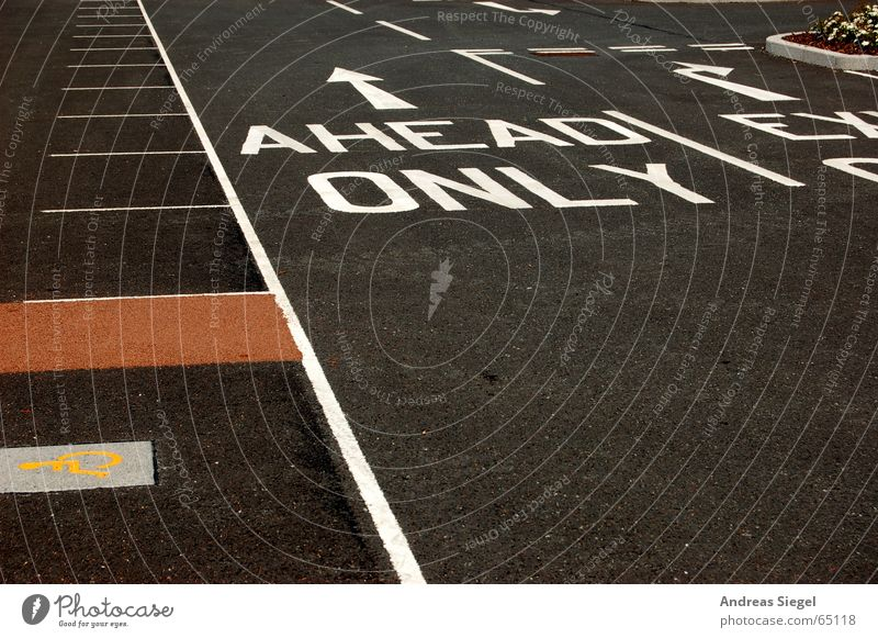 AHEAD ONLY Right ahead Line Parking lot Black Forwards England Asphalt Traffic infrastructure Letters (alphabet) Characters Transport ahead only blackpool