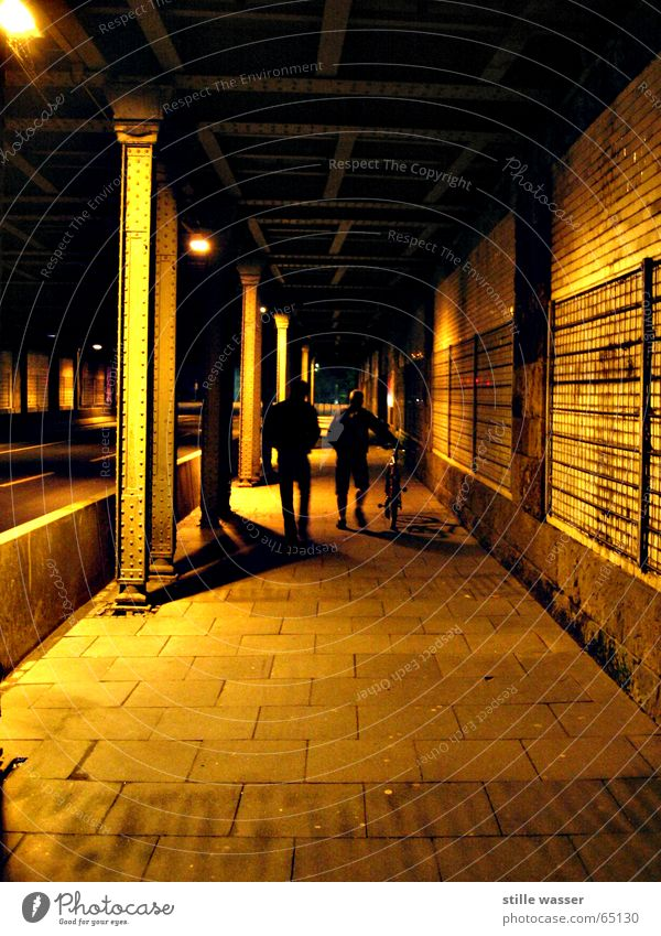 HOME WAY Grating Human being Iron Night Sidewalk Railway bridge Bridge Street Lanes & trails Shadow