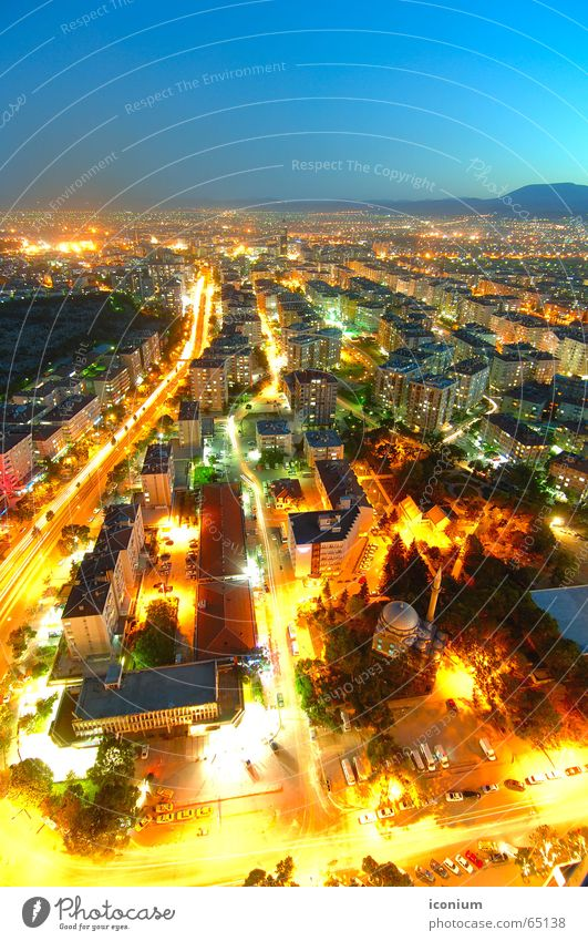 Konya City Town Yellow Park Light Summer Turkey Mosque Street lighting Road traffic Horizon Large City of millions Bird's-eye view Aerial photograph Twilight