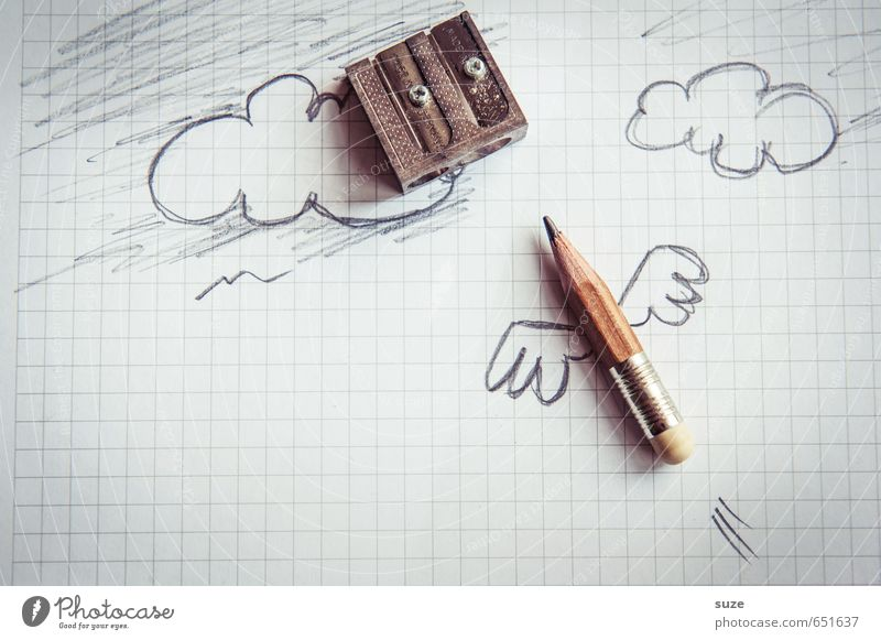 Clouds Funny Gray Small Exceptional School Work and employment Flying Business Office Creativity Academic studies Illustration Idea Paper Wing