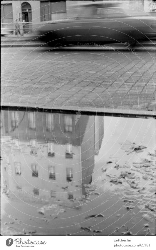 rain Puddle Reflection Motion blur Wartburg castle The eighties Road traffic Pavement Rain Car 601 no trabbi Maybe a lada no porsche GDR