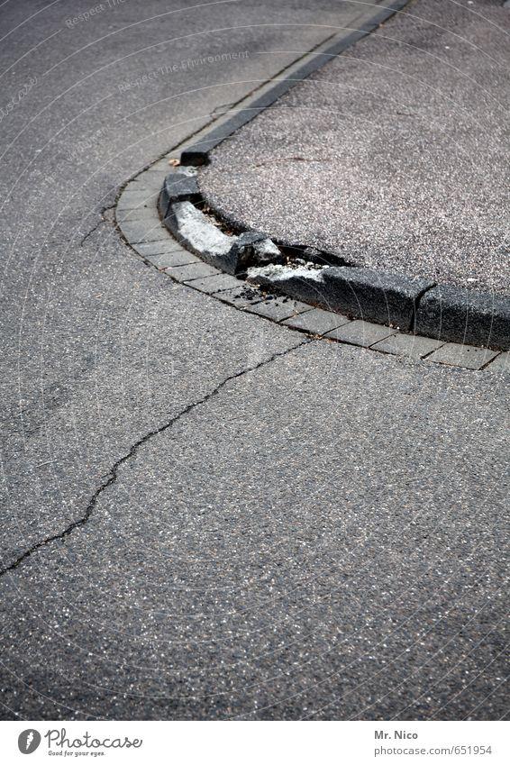 City Street Lanes & trails Gray Stone Gloomy Concrete Broken Change Round Footpath Asphalt Sidewalk Decline Traffic infrastructure Crack & Rip & Tear