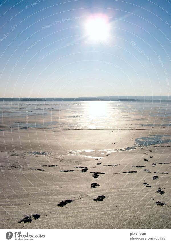 Traces to light Back-light Sun Light Sunlight Bright Light (Natural Phenomenon) Sunset Horizon Sky Beautiful weather Cloudless sky Sky blue Reservoir Ice Frozen