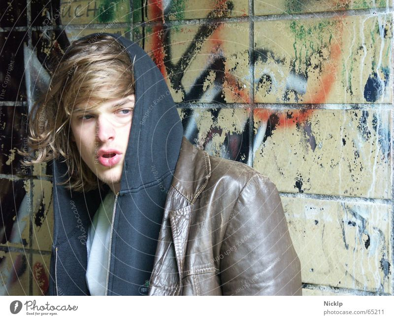 Tim V Fat Tramp Junkie Haste Dirty Redneck Masculine Beautiful Man Wall (building) Smeared Multicoloured Disgust Leather jacket Brown Black Portrait photograph