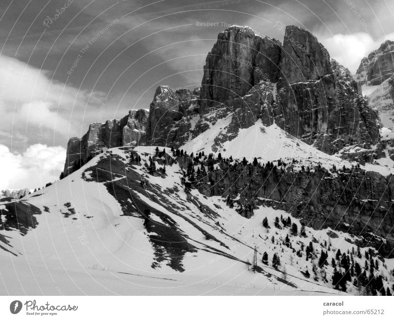 Dolomiti Dolomites Black White Sky Clouds Mountain Snow cloud