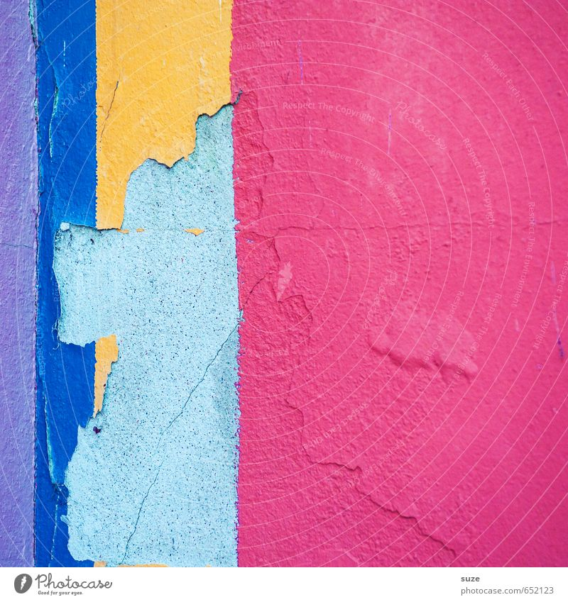 Blue Red Yellow Wall (building) Wall (barrier) Style Line Art Background picture Pink Facade Lifestyle Design Simple Stripe Creativity