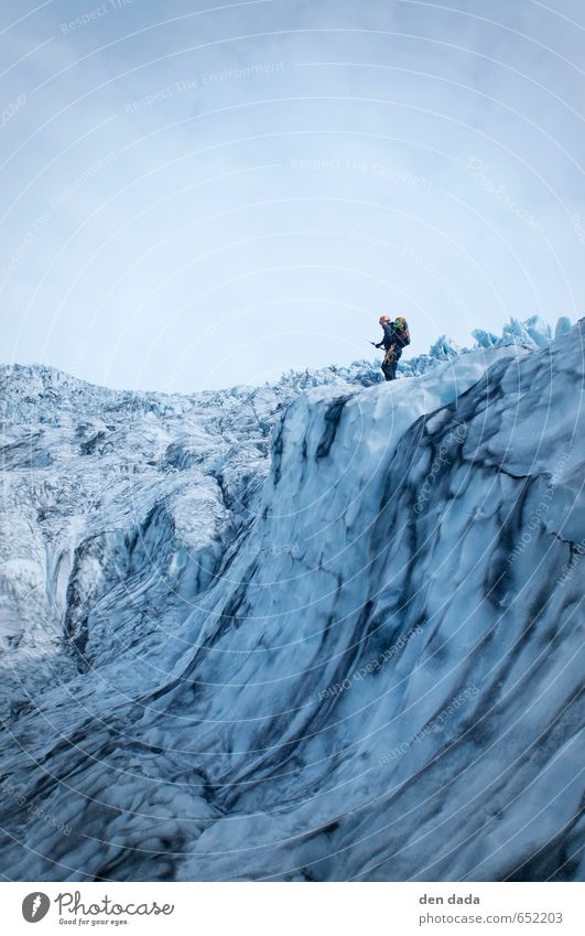 Ice climbing Vatnajökull National Park Iceland Sports Winter sports Sportsperson Climbing 1 Human being 30 - 45 years Adults Landscape Climate change Frost Snow