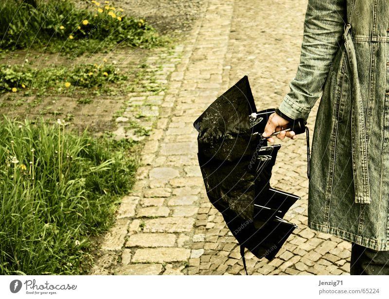 Woman Rain Weather Umbrella Jacket Sidewalk Cobblestones Coat Paving stone