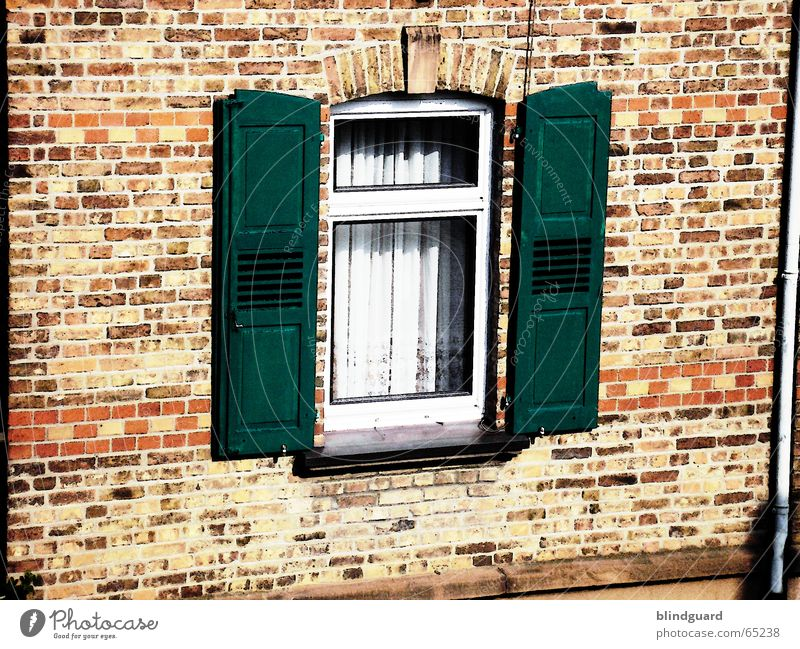 Wide open Window Shutter Brick Wall (barrier) Drape House (Residential Structure) Canceled Processed Roller shutter Old building Wall (building) Pane