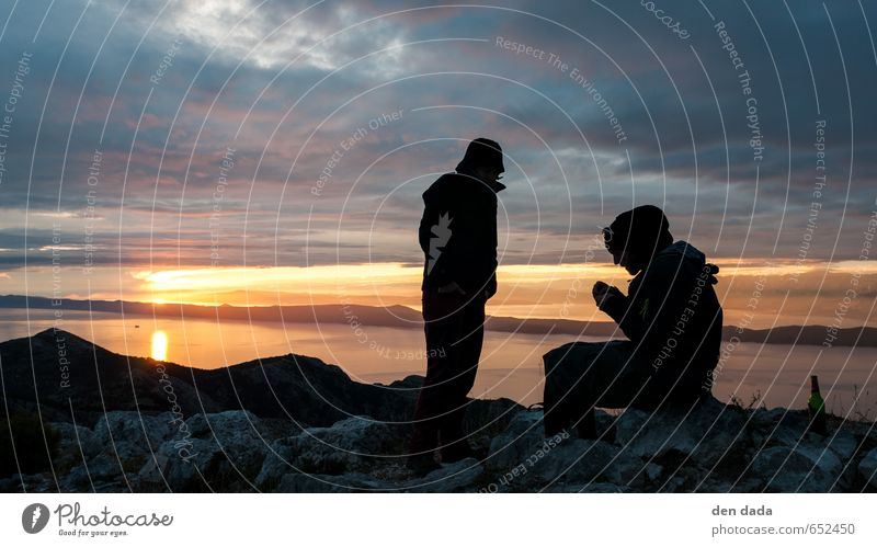 Sunset on the Sports hiking trekking Climbing Human being 2 Environment Landscape Sunrise Rock Mountain Peak Bay Ocean Adriatic Sea To enjoy Esthetic