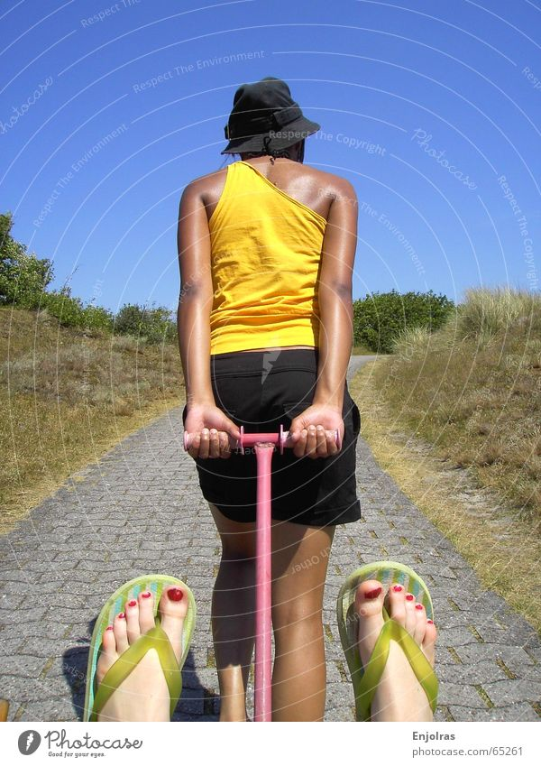 To the beach Flip-flops Trolley Summer Toenail Perspiration Bushes Relaxation Yellow Beach dune Sky Lanes & trails Effort
