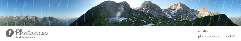 Sky Meadow Mountain Large Alps Hut Panorama (Format) Mountain ridge Mountain meadow Allgäu Alps