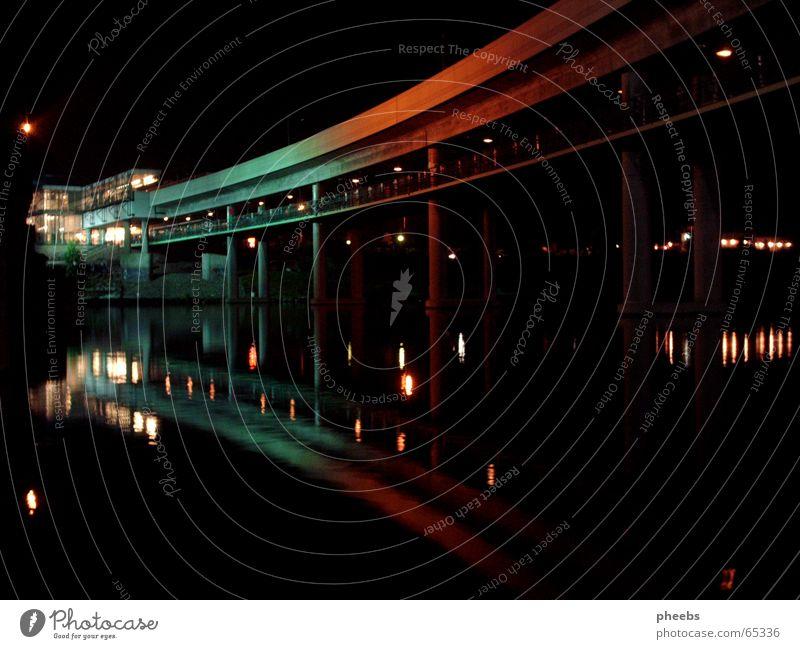Water Green Red Lamp Dark River Mirror Vienna Distorted Color gradient Danube Danube Island Festival