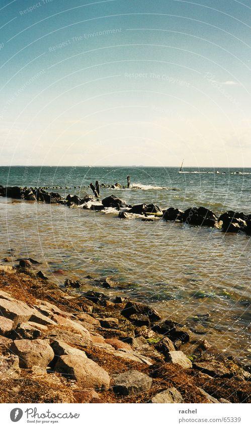 Ocean Beach Vacation & Travel Calm Relaxation Freedom Stone Waves Coast Horizon Rock Tourism Navigation Baltic Sea Beautiful weather Wanderlust