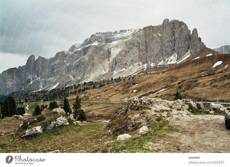 Sella Dolomites Dark Gray Brown Green Mountain Rock