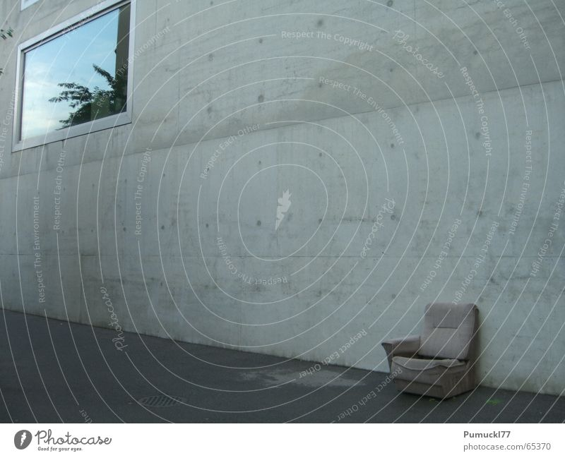 Old Calm Loneliness Wall (building) Window Gray Brown Concrete Sit Places Empty Gloomy Break Soft Trash Armchair