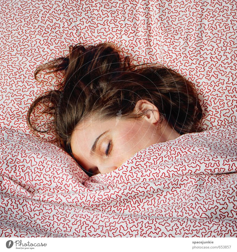 Human being Youth (Young adults) White Relaxation Young woman Adults Love Feminine Hair and hairstyles Happy Exceptional Head Pink To enjoy Sleep Soft