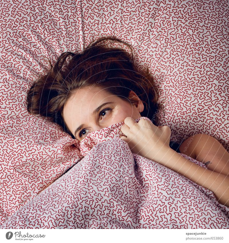 Human being Woman Youth (Young adults) Beautiful White Relaxation Red Young woman Cold Adults Sadness Feminine Dream Warm-heartedness Sleep Grief