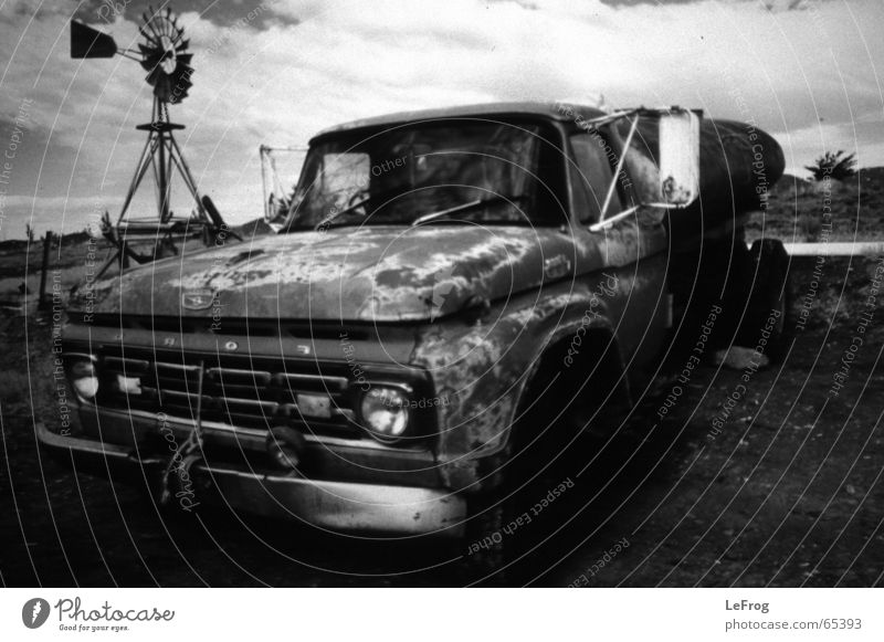 Somewhere in the Pampa of Argentina Car ford Black & white photo Old Pick-up truck Wind energy plant