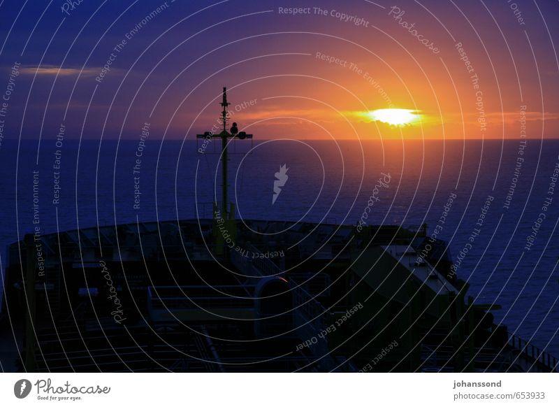 changing of the guard Landscape Water Sunrise Sunset Ocean Logistics Navigation Oil tanker To enjoy Vacation & Travel Dream Dark Blue Black Moody